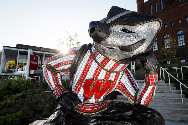 A statue of UW-Madison mascot Bucky Badger.